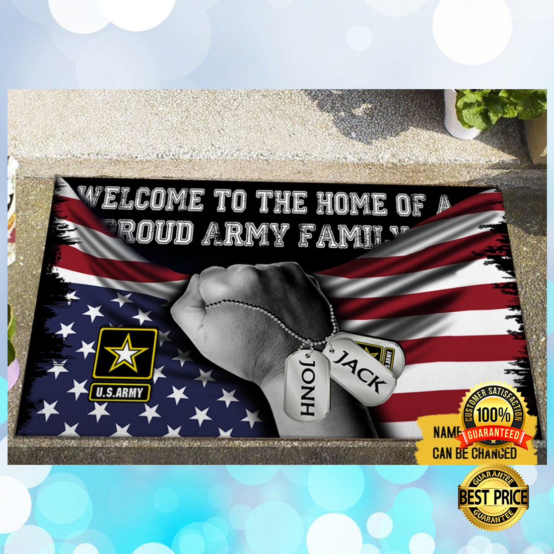 PERSONALIZED WELCOME TO HOME OF A PROUD ARMY FAMILY DOORMAT