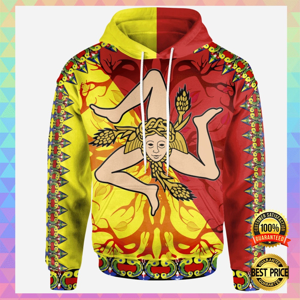 SICILY FLAG WITH CELTIC TREE OF LIFE ALL OVER PRINTED 3D HOODIE