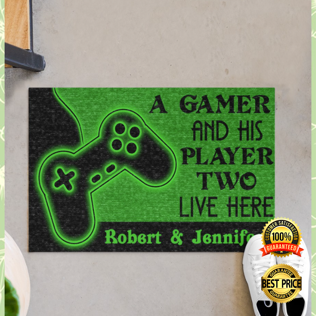 [NEW] PERRSONALIZED A GAMER AND HIS PLAYER TWO LIVE HERE DOORMAT