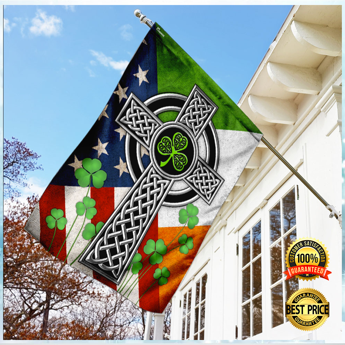 [NEW] IRISH CELTIC KNOT CROSS FLAG