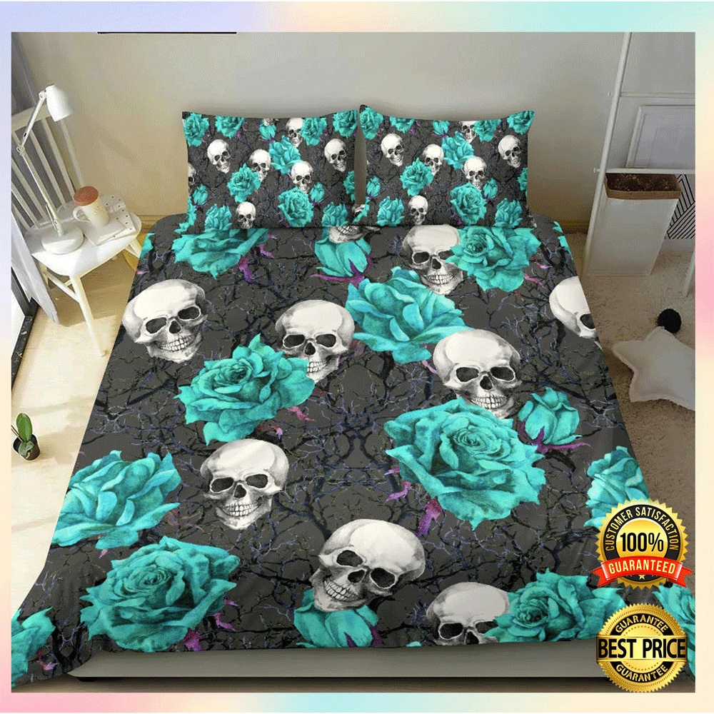 [Nice] Turquoise Rose Skull Bedding Set