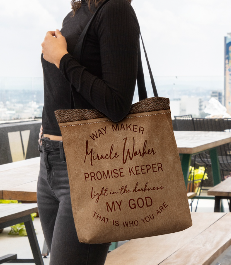 [Limited] Way maker miracle worker promise keeper light in the darkness my god this is who you are tote bag