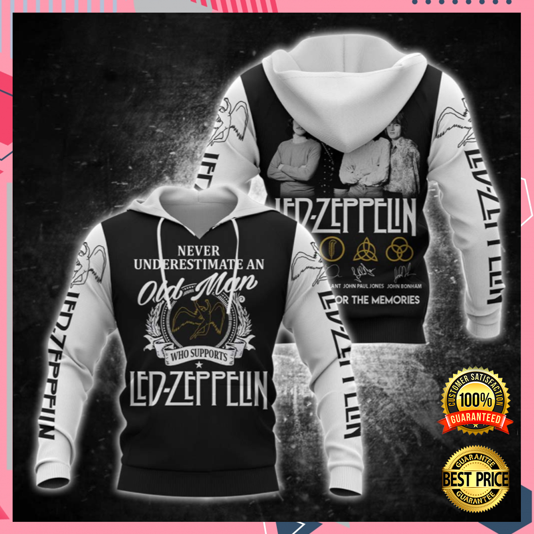[DISCOUNT] NEVER UNDERESTIMATE AN OLD MAN WHO SUPPORTS LED ZEPPELIN ALL OVER PRINTED 3D HOODIE