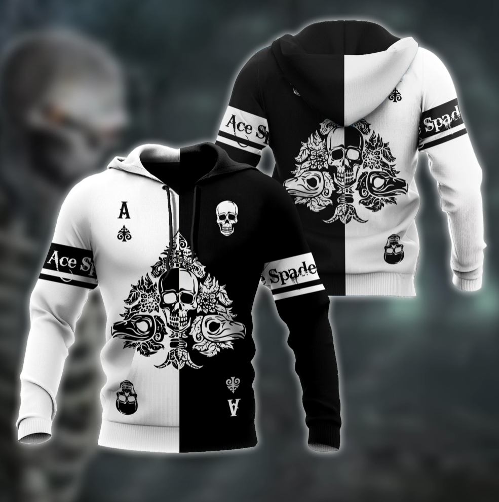 [Hot] Skull Ace Spade All Over Printed 3D Hoodie