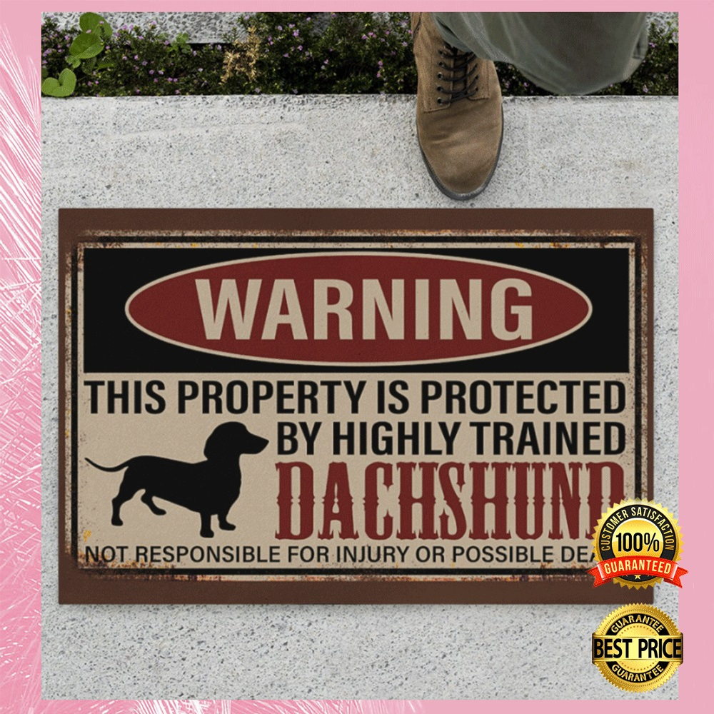 [Cheapest] WARNING THIS PROPERTY IS PROTECTED BY HIGHLY TRAINED DACHSHUND DOORMAT