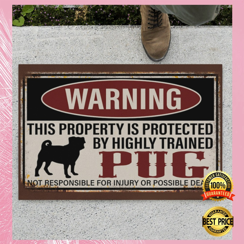[Sale off] WARNING THIS PROPERTY IS PROTECTED BY HIGHLY TRAINED PUG DOORMAT