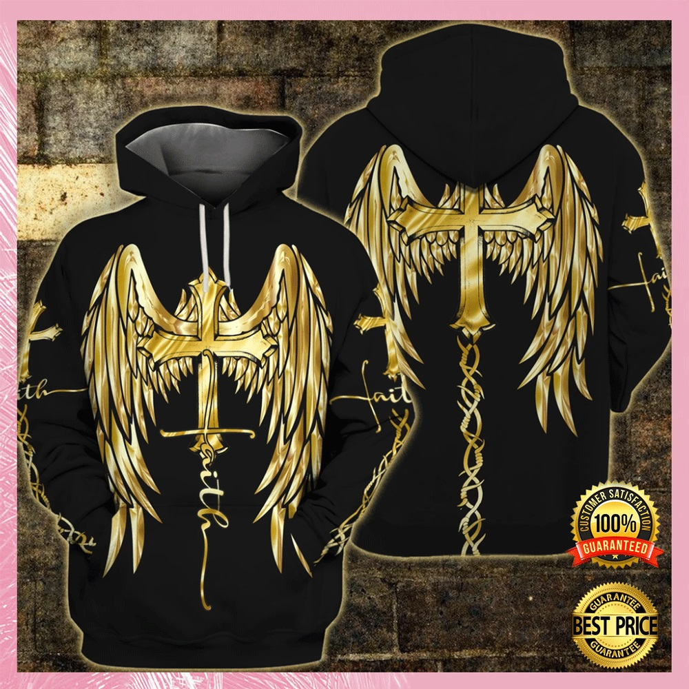 [Cheapest] FAITH WINGS CROSS ALL OVER PRINTED 3D HOODIE