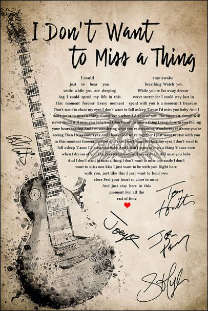 [Cheapest] I don't want to miss a thing lyric signatures poster