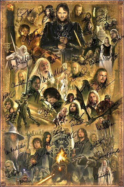 [Cheapest] The Lord of the Ring character signatures poster