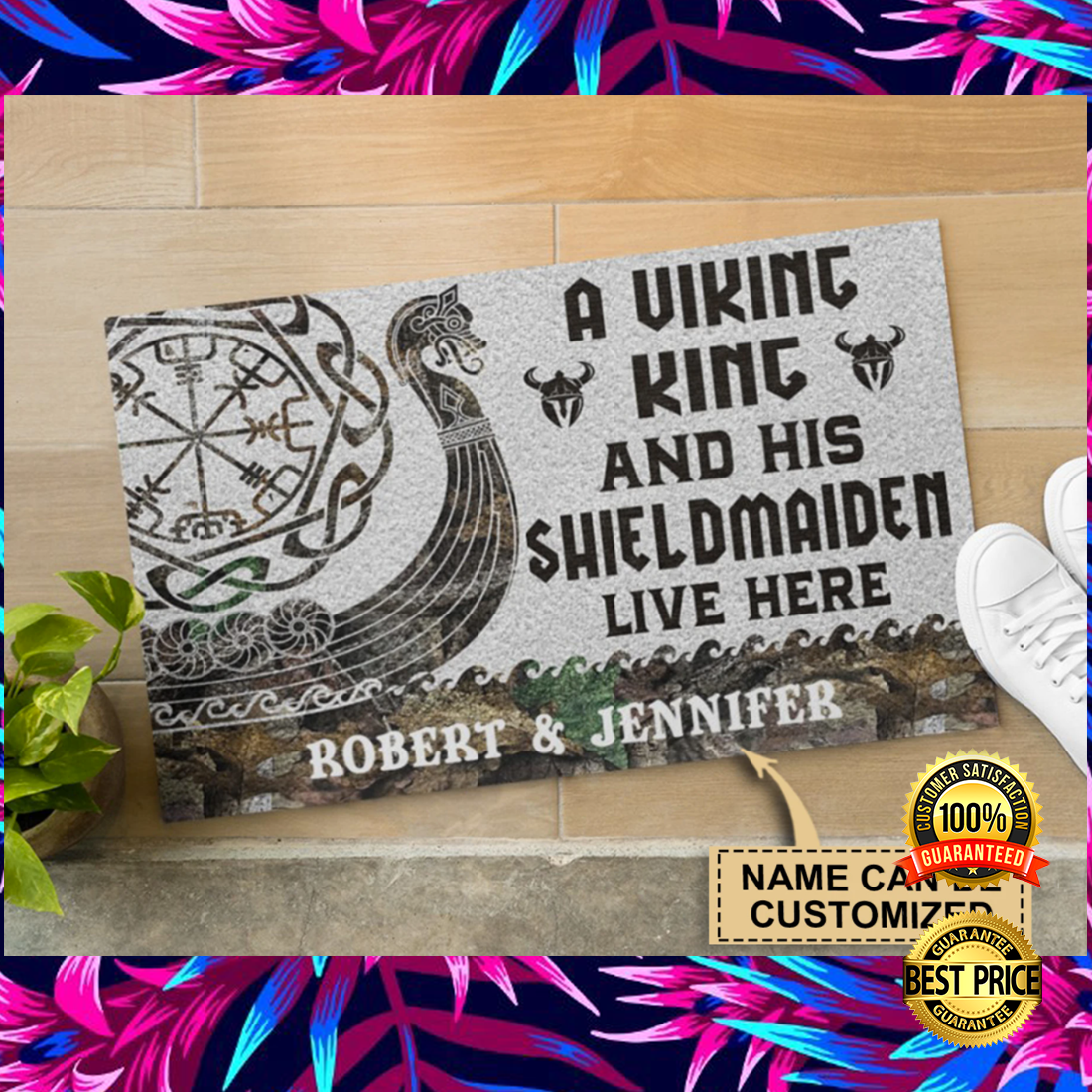 Personalized a viking and his shieldmaiden live here doormat 5