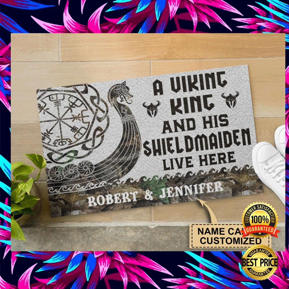 Personalized a viking and his shieldmaiden live here doormat 4