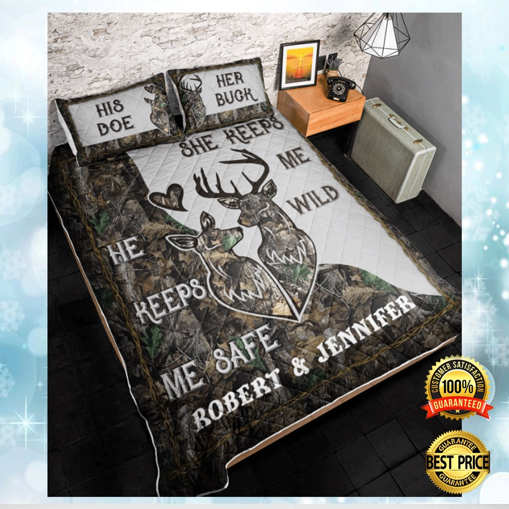 PERSONALIZED HE KEEPS ME SAFE SHE KEEPS ME WILD BEDDING SET 4