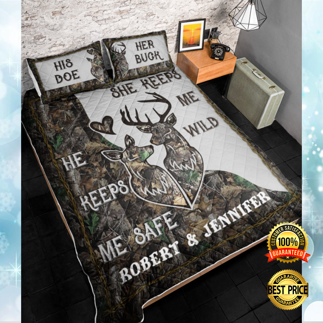 PERSONALIZED HE KEEPS ME SAFE SHE KEEPS ME WILD BEDDING SET 5