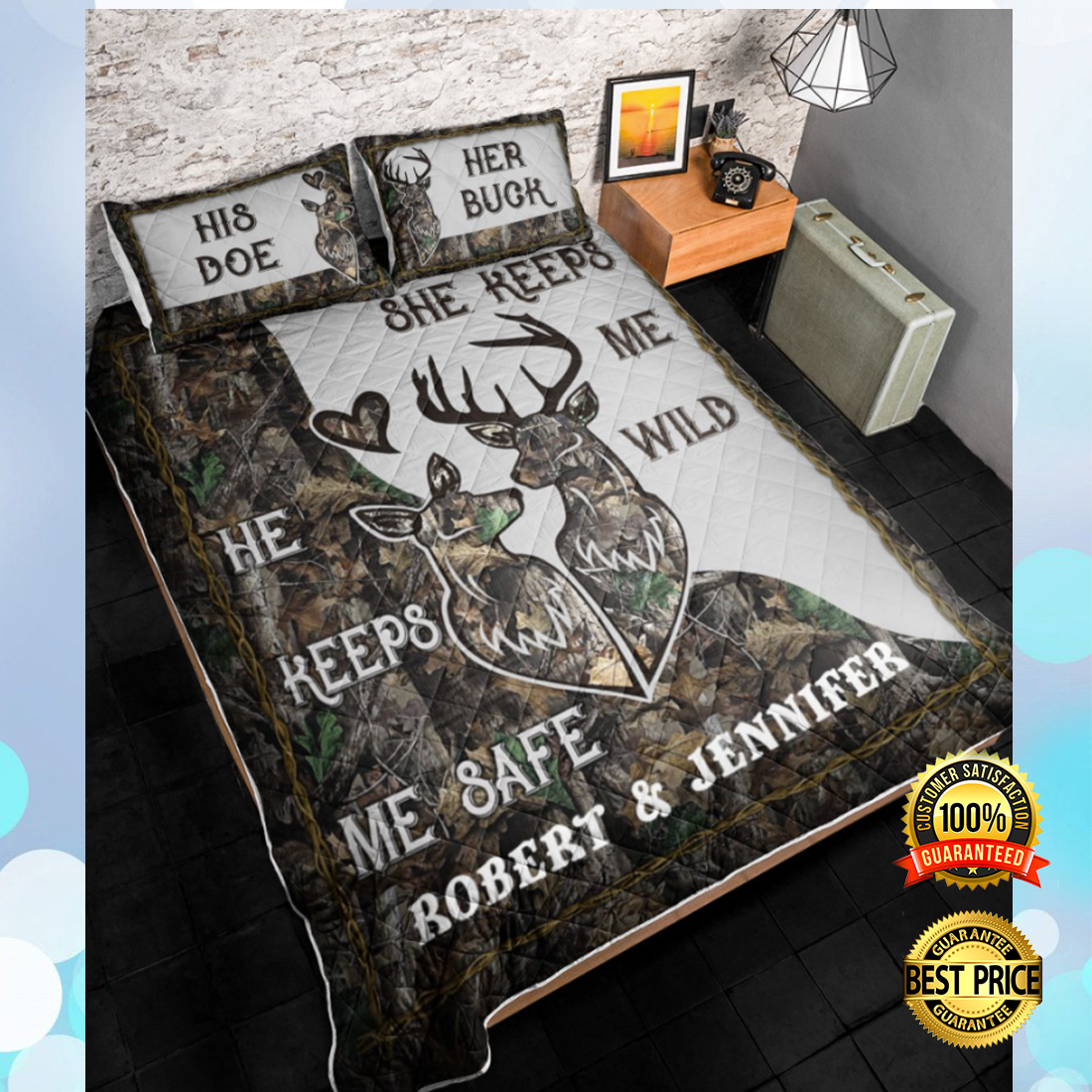 PERSONALIZED HE KEEPS ME SAFE SHE KEEPS ME WILD BEDDING SET 6