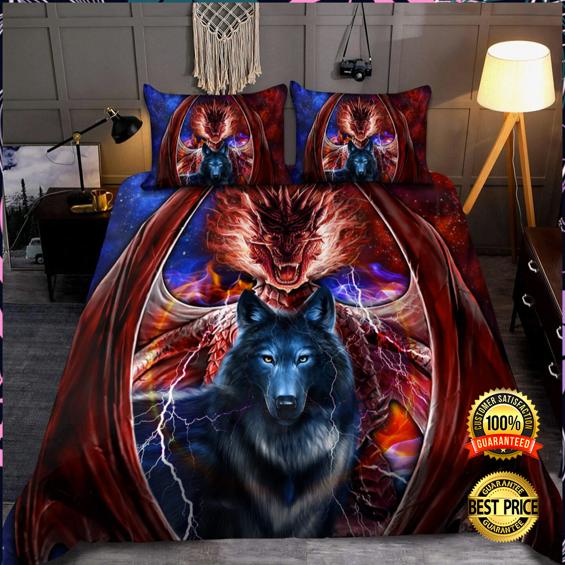 DRAGON AND WOLF BEDDING SET 7