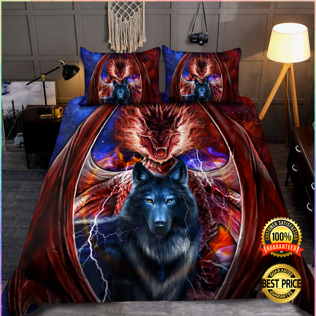 DRAGON AND WOLF BEDDING SET 6