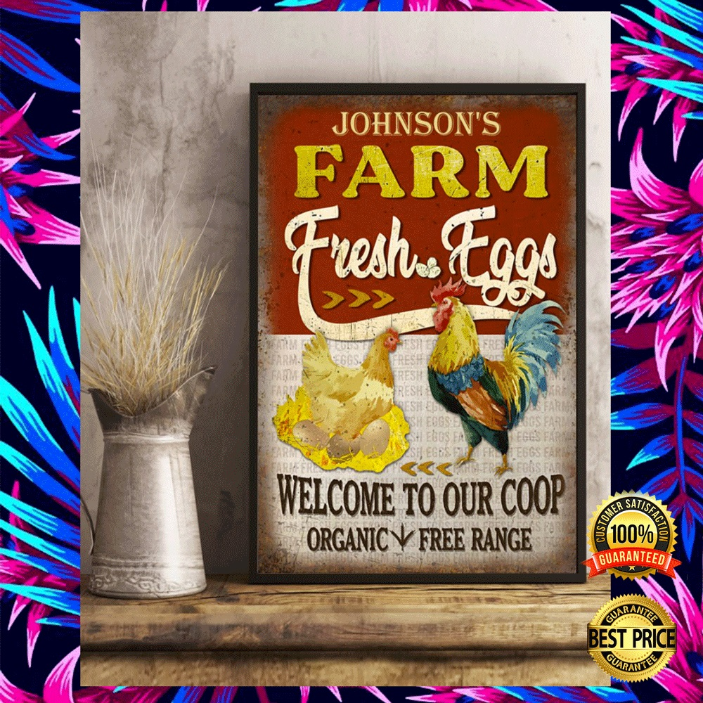Personalized farm fresh eggs welcome to our coop organic free range poster 6