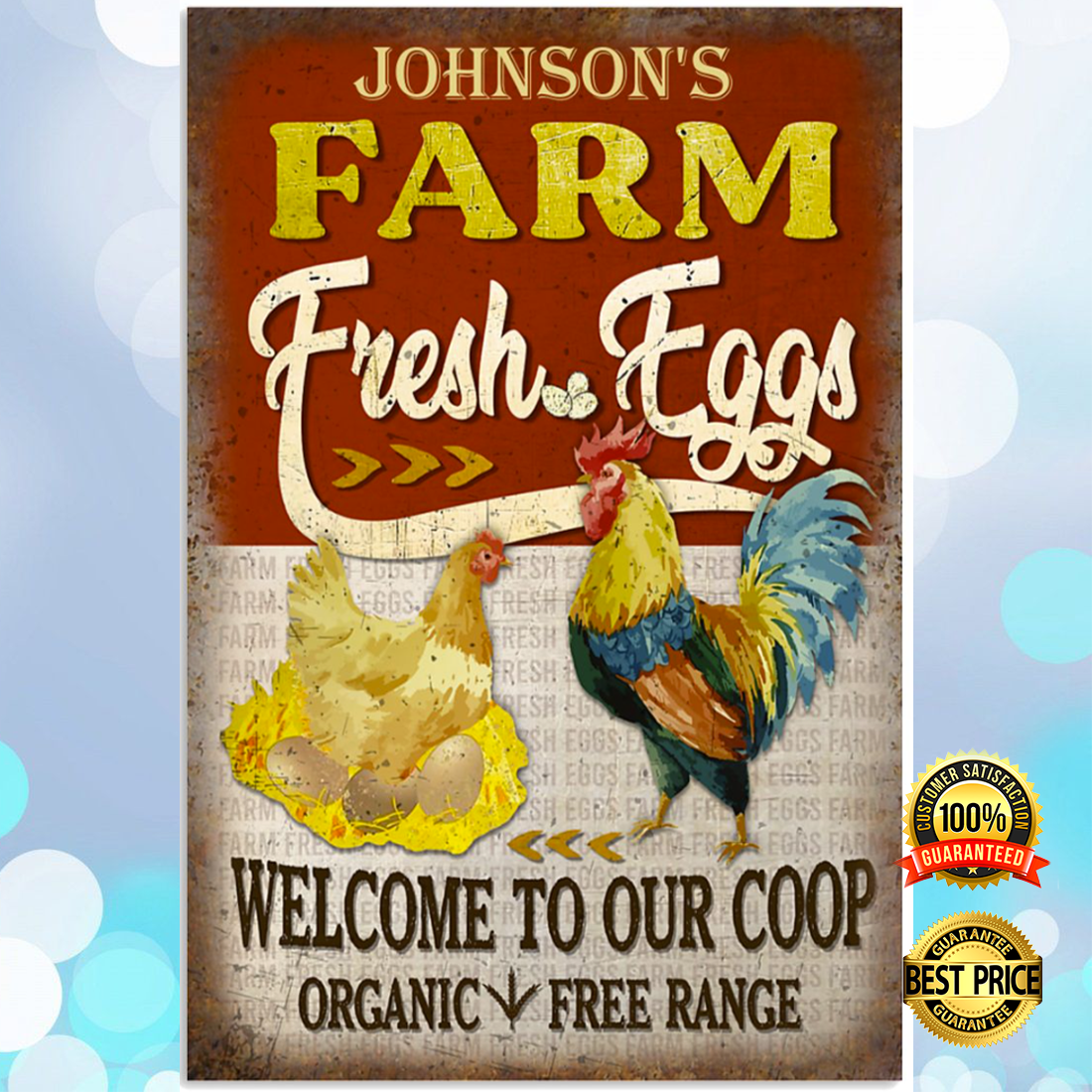 Personalized farm fresh eggs welcome to our coop organic free range poster 4