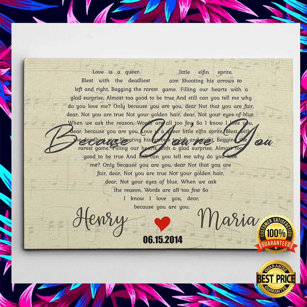 PERSONALIZED BECAUSE YOU'RE YOU LYRIC CANVAS 6