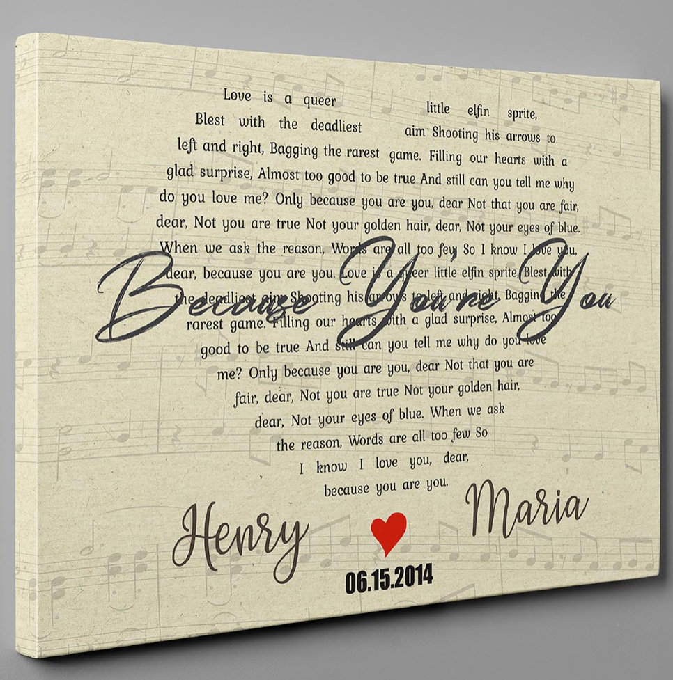 PERSONALIZED BECAUSE YOU'RE YOU LYRIC CANVAS 5