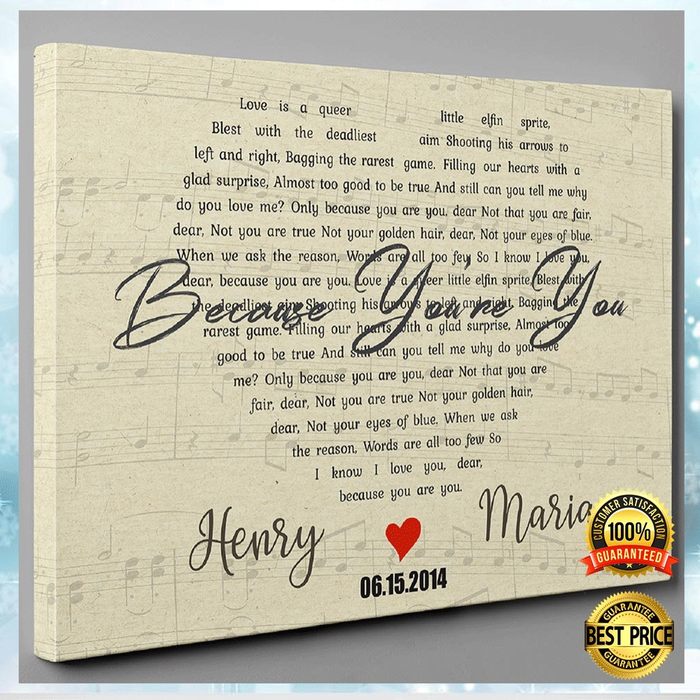 PERSONALIZED BECAUSE YOU'RE YOU LYRIC CANVAS 4