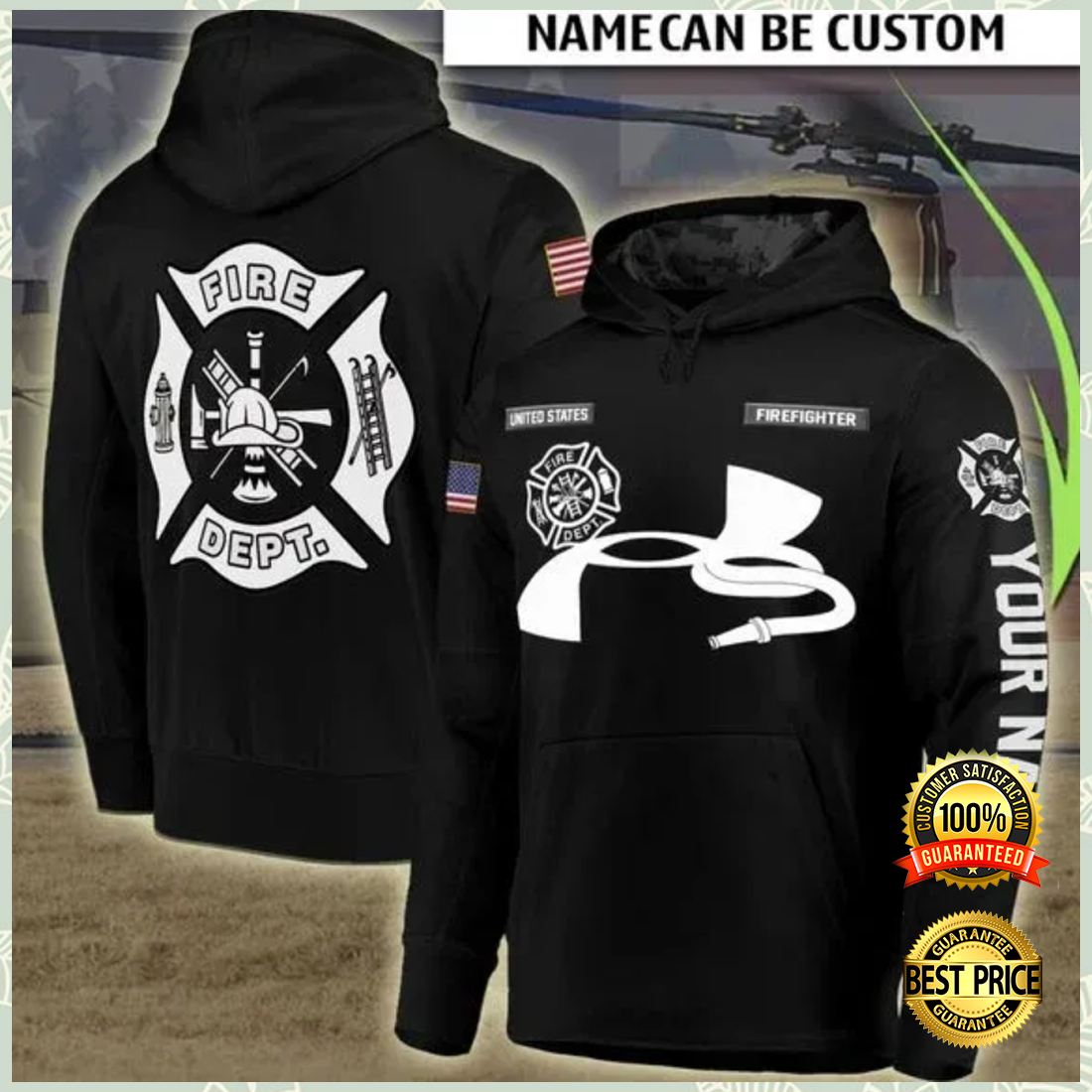 PERSONALIZED FIRE DEPT ALL OVER PRINTED 3D HOODIE 7