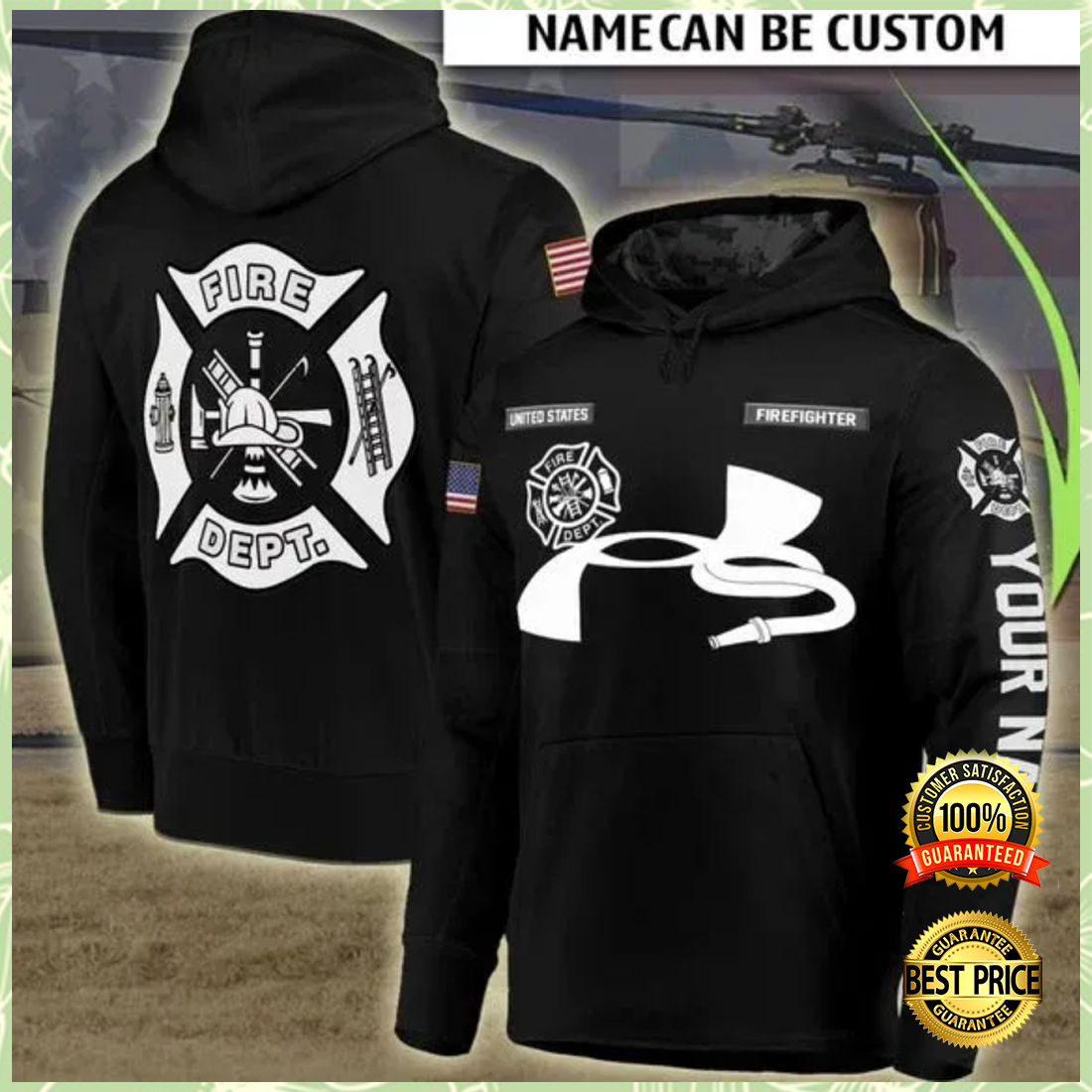 PERSONALIZED FIRE DEPT ALL OVER PRINTED 3D HOODIE 5