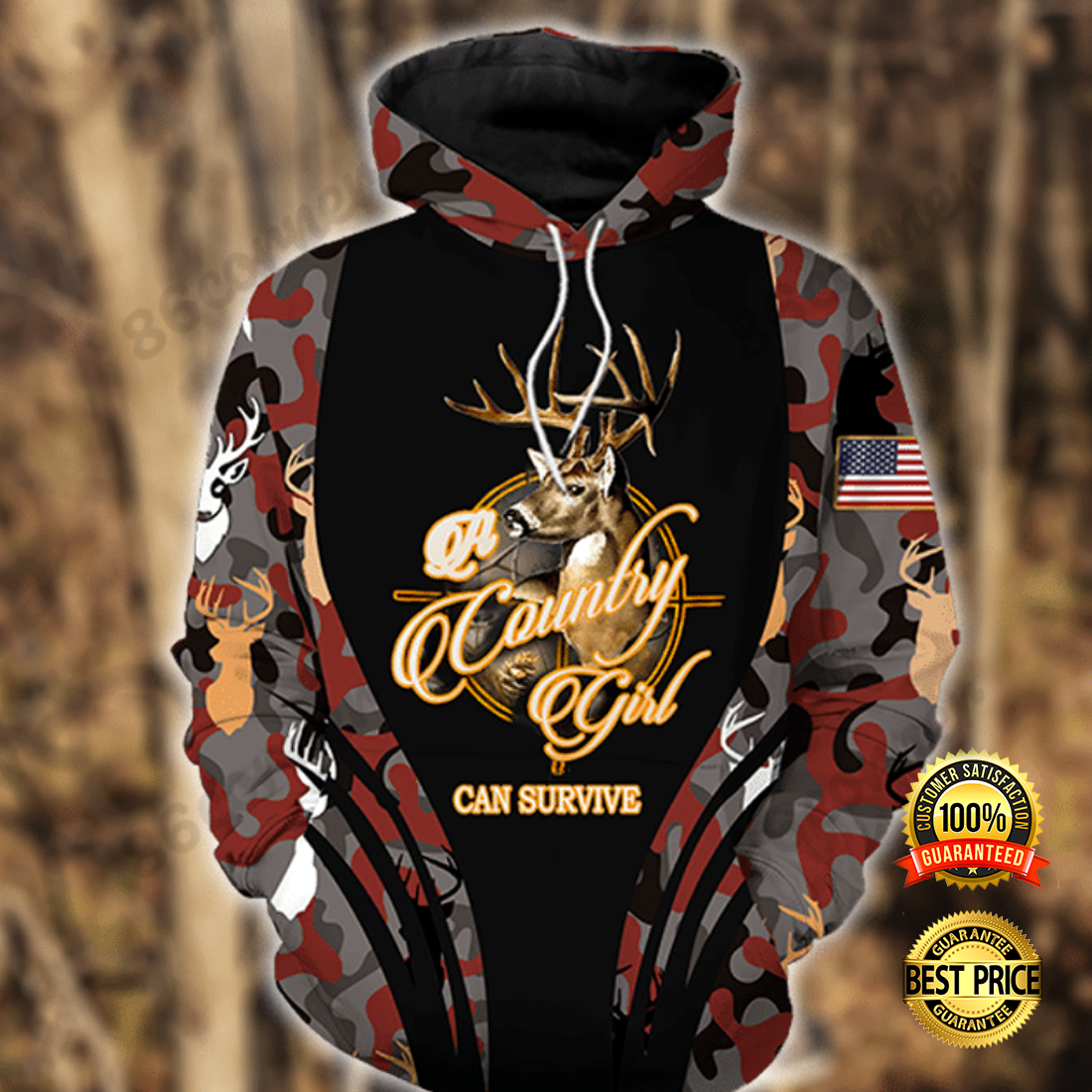 A COUNTRY GIRL CAN SURVIVE ALL OVER PRINTED 3D HOODIE 6