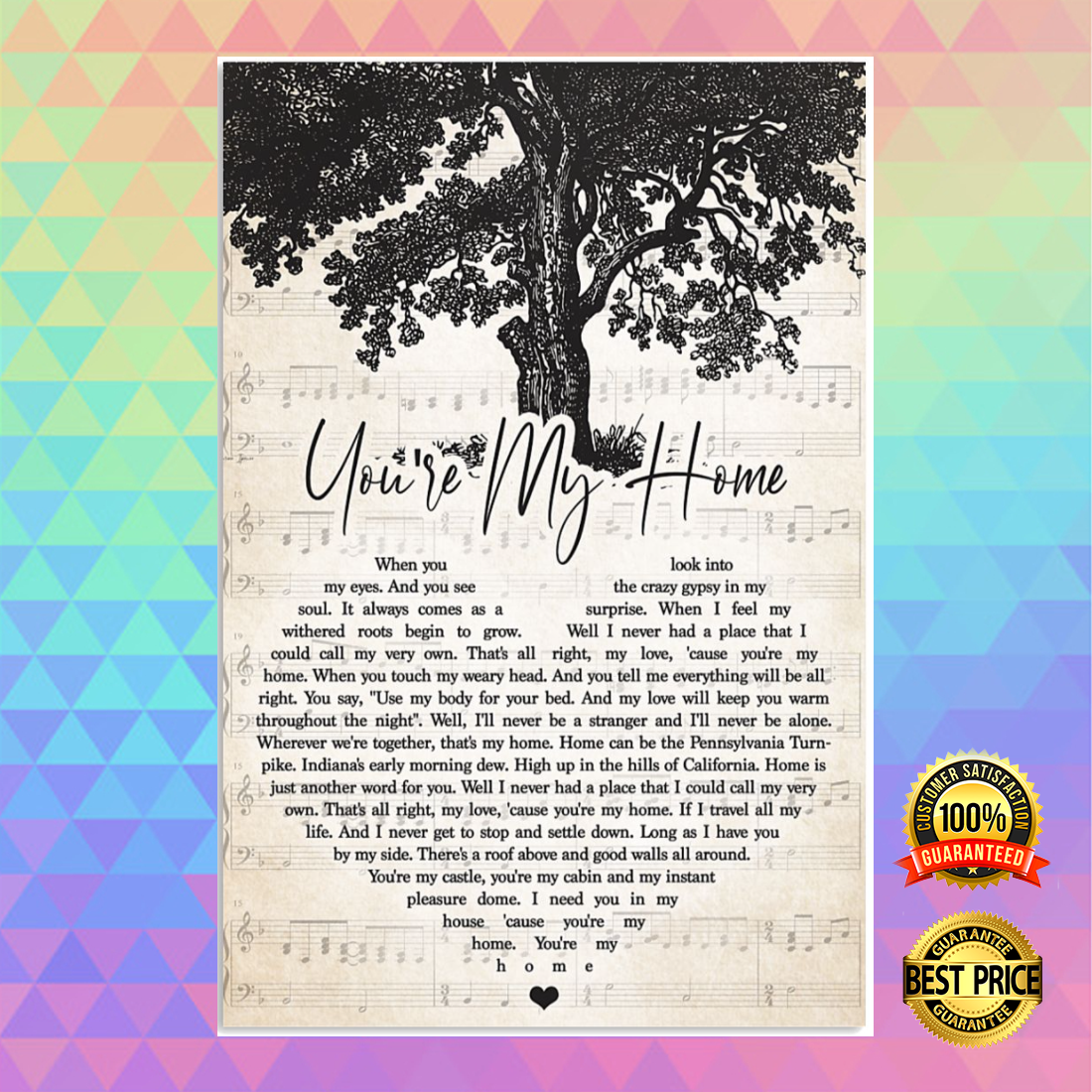 [Newest] You're my home heart song lyric poster