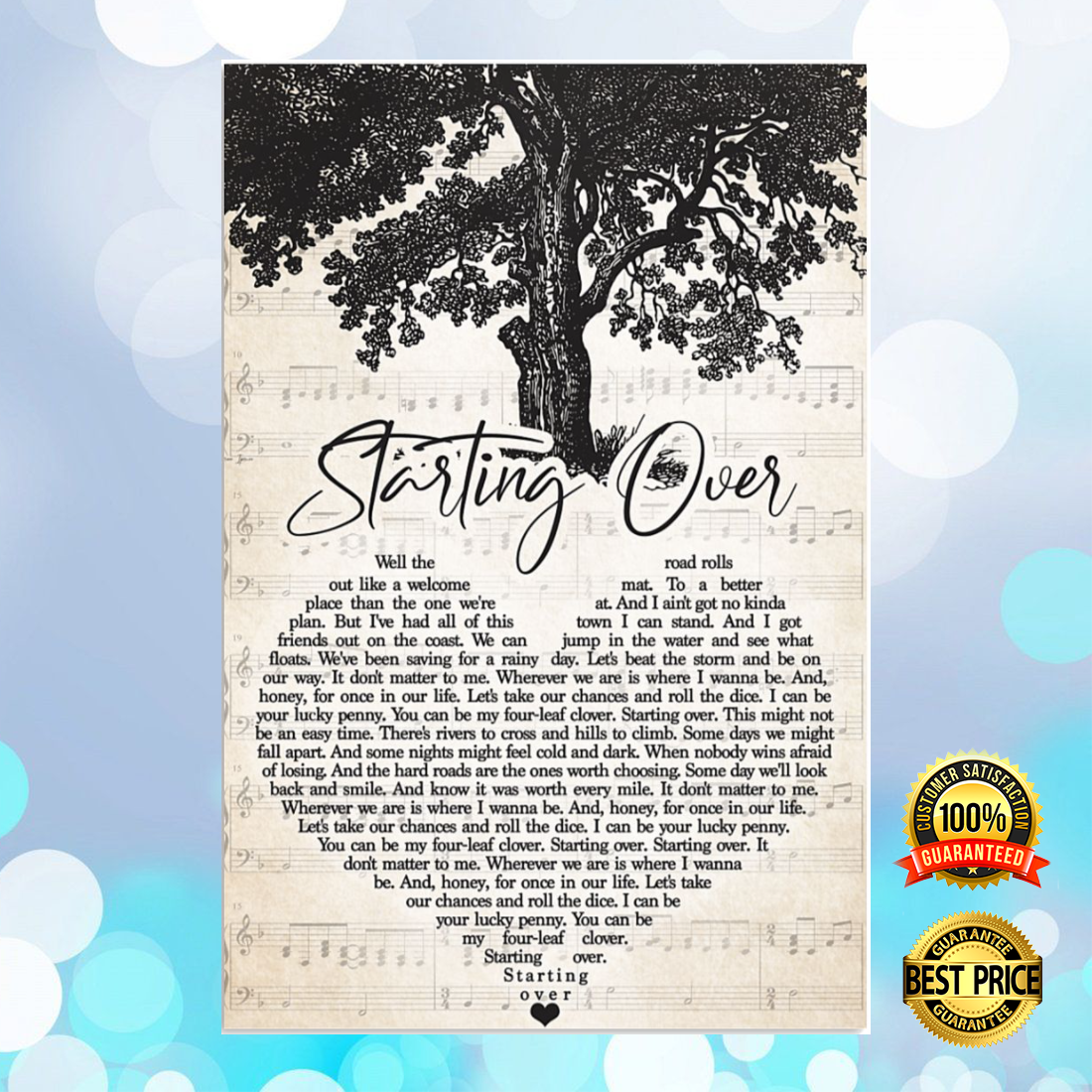 Starting over heart song lyric poster 6