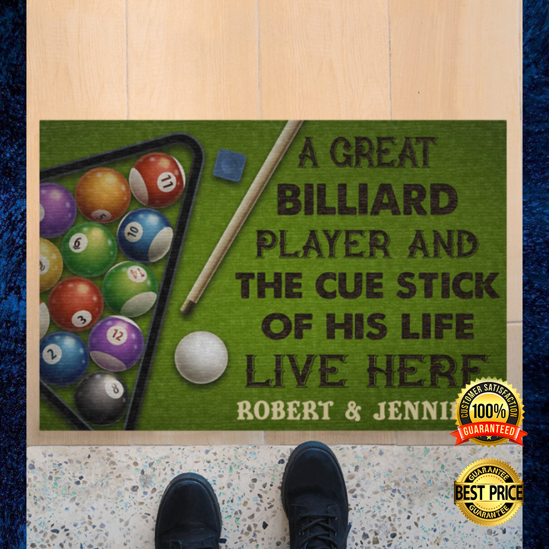 PERSONALIZED A GREAT BILLIARD PLAYER AND THE CUE STICK OF HIS LIFE LIVE HERE DOORMAT 6