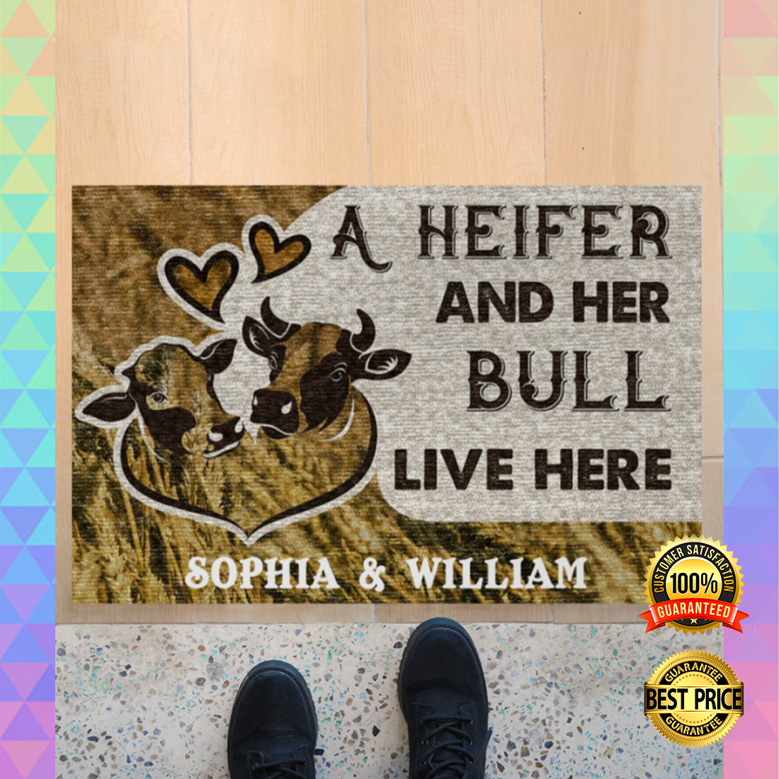 PERSONALIZED A HEIFER AND HER BULL LIVE HERE DOORMAT 7