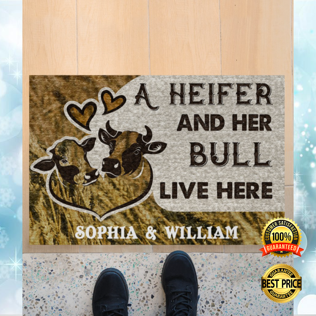 PERSONALIZED A HEIFER AND HER BULL LIVE HERE DOORMAT 6