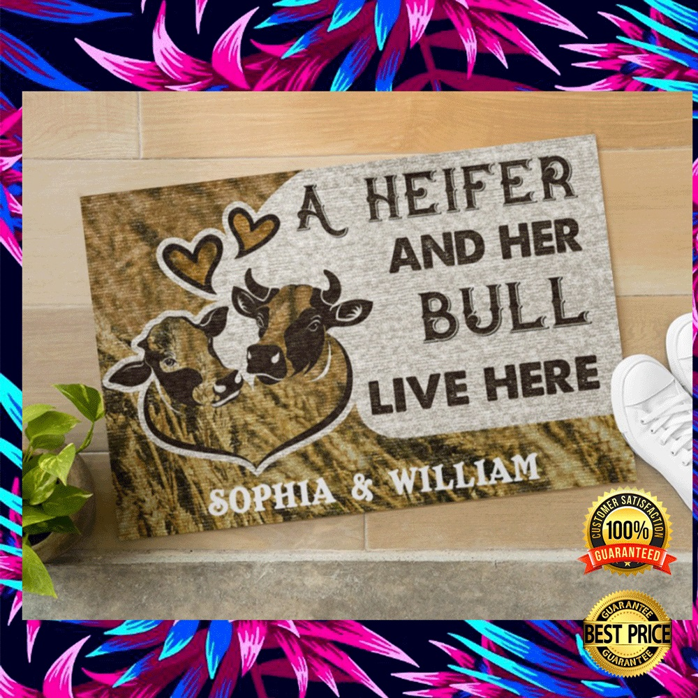 PERSONALIZED A HEIFER AND HER BULL LIVE HERE DOORMAT 5