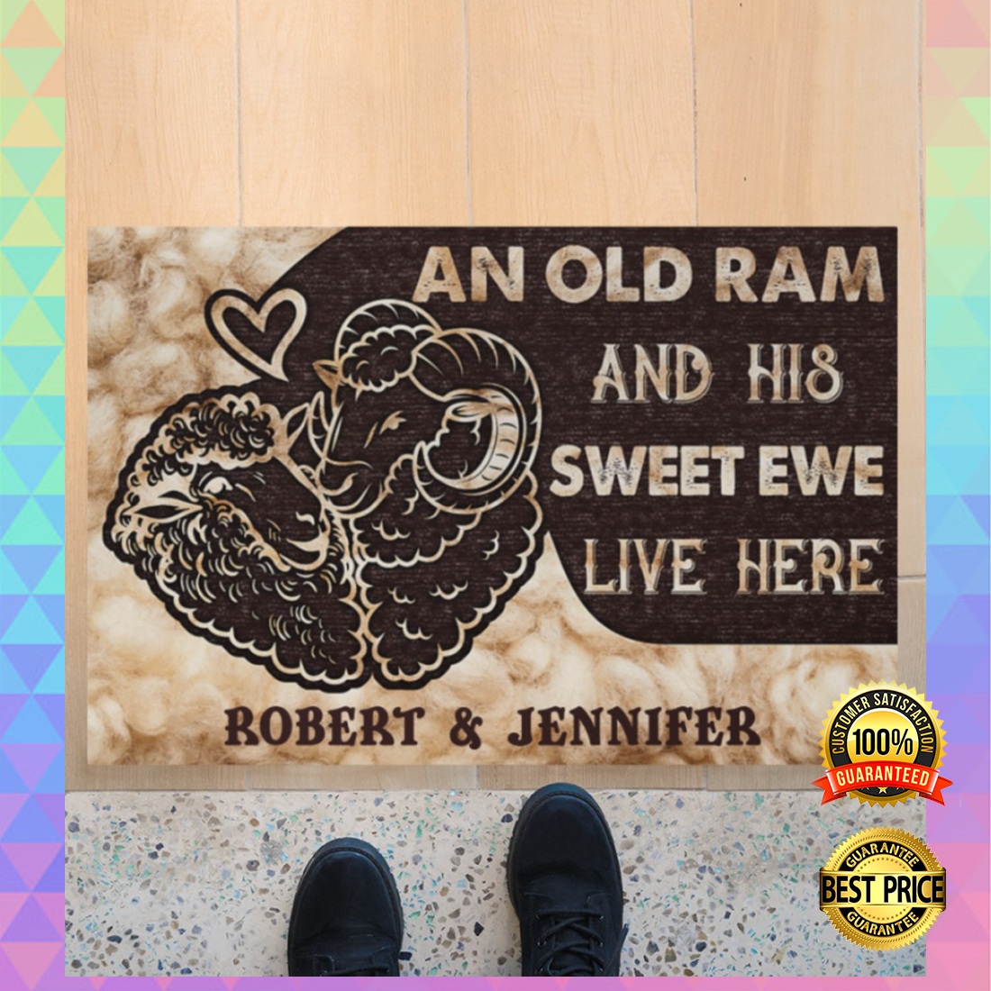 PERSONALIZED AN OLD RAM AND HIS SWEET EWE LIVE HERE DOORMAT 6