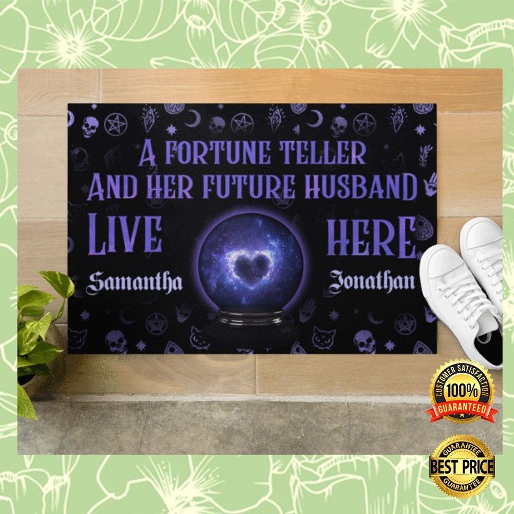 PERSONALIZED A FORTUNE TELLER AND HER FUTURE HUSBAND LIVE HERE DOORMAT 4