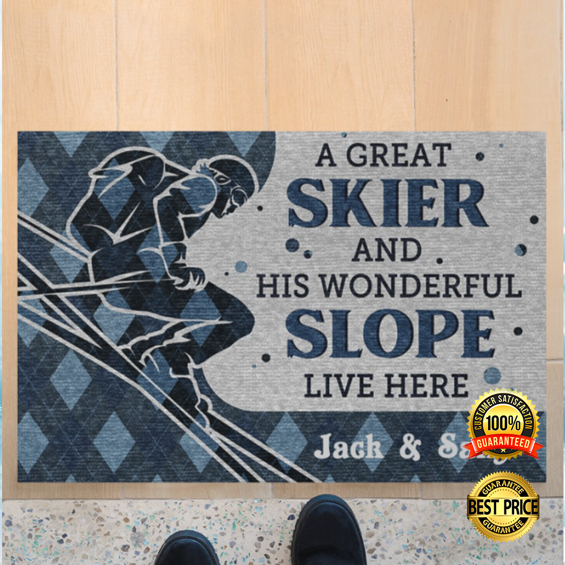 PERSONALIZED A GREAT SKIER AND HIS WONDERFUL SLOPE LIVE HERE DOORMAT 4