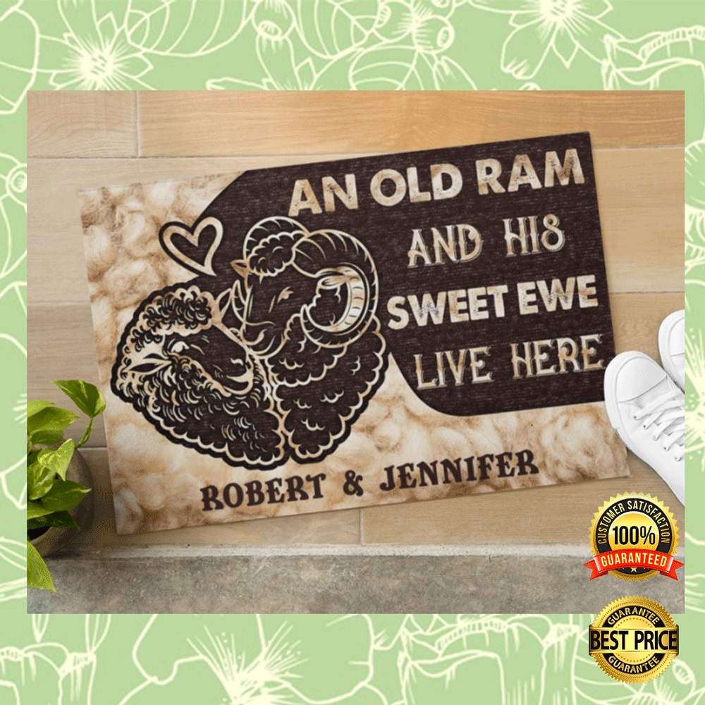 PERSONALIZED AN OLD RAM AND HIS SWEET EWE LIVE HERE DOORMAT 4