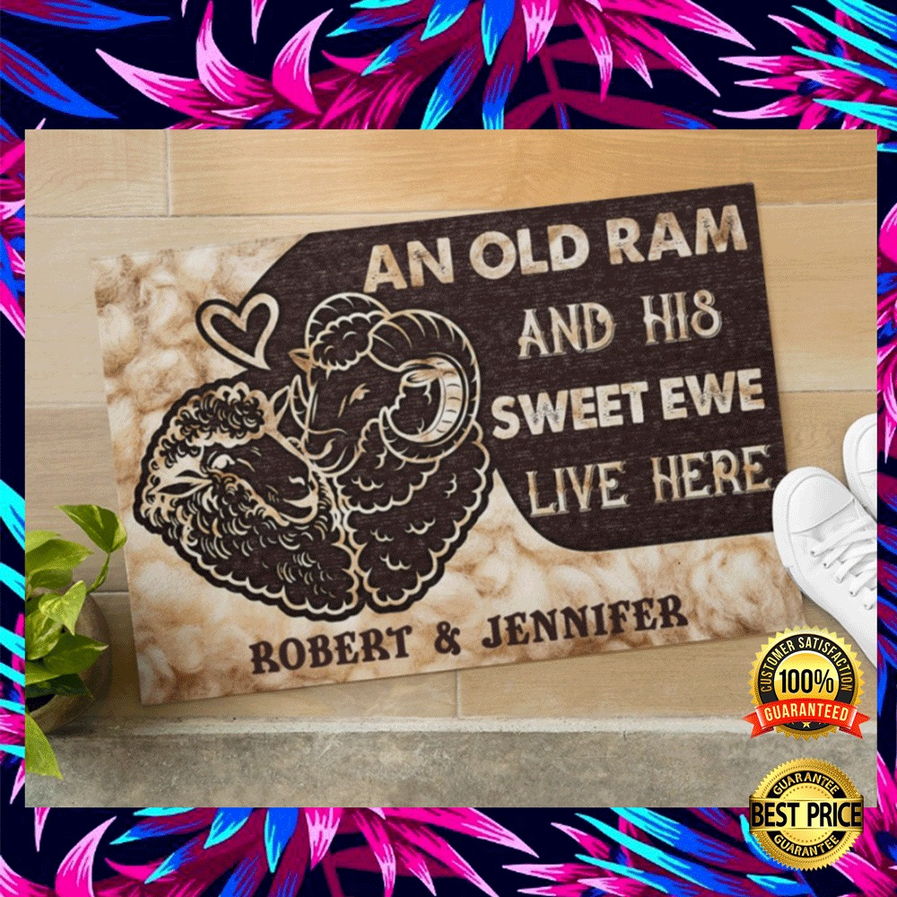 PERSONALIZED AN OLD RAM AND HIS SWEET EWE LIVE HERE DOORMAT 5