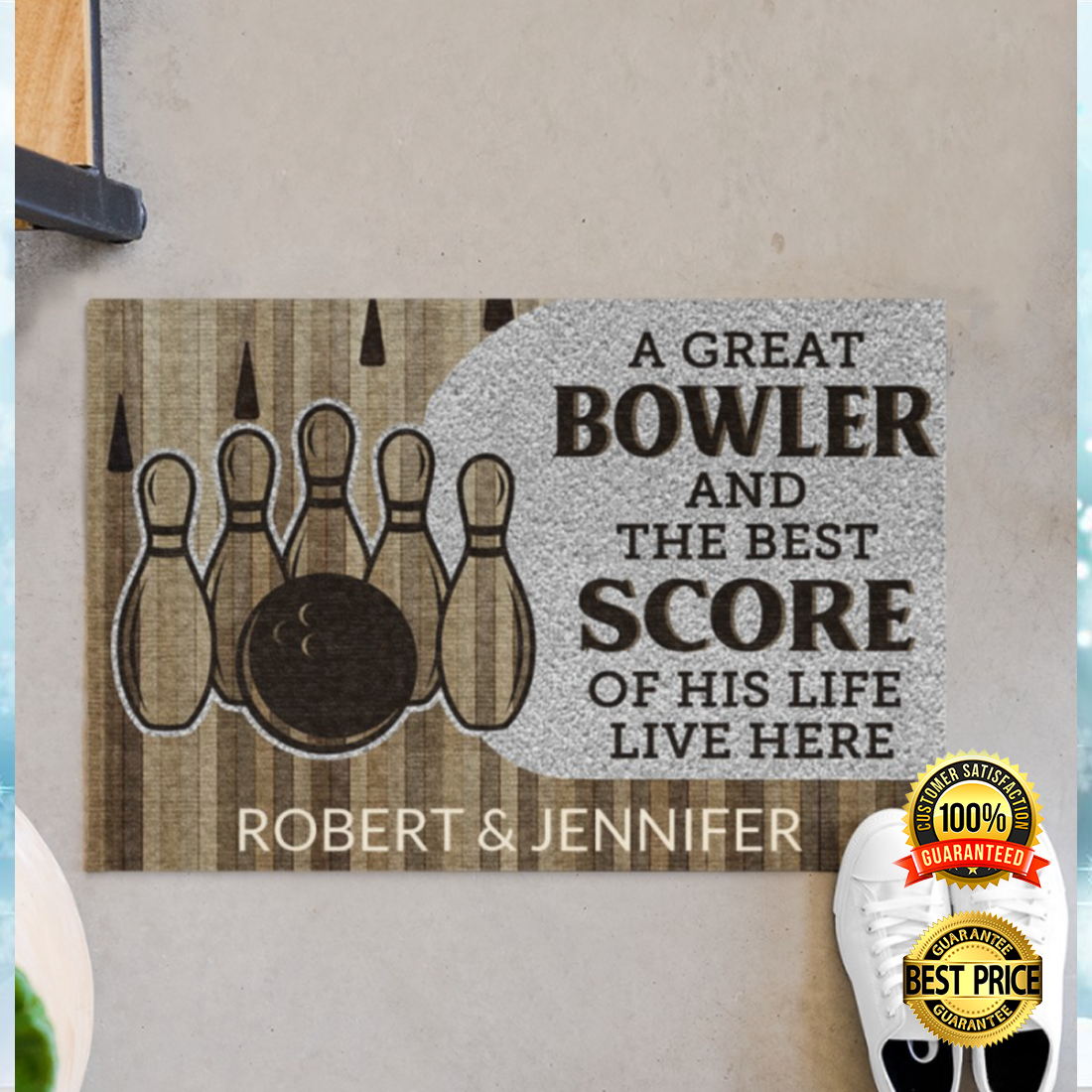 PERSONALIZED A GREAT BOWLER AND THE BEST SCORE OF HIS LIFE LIVE HERE DOORMAT 5