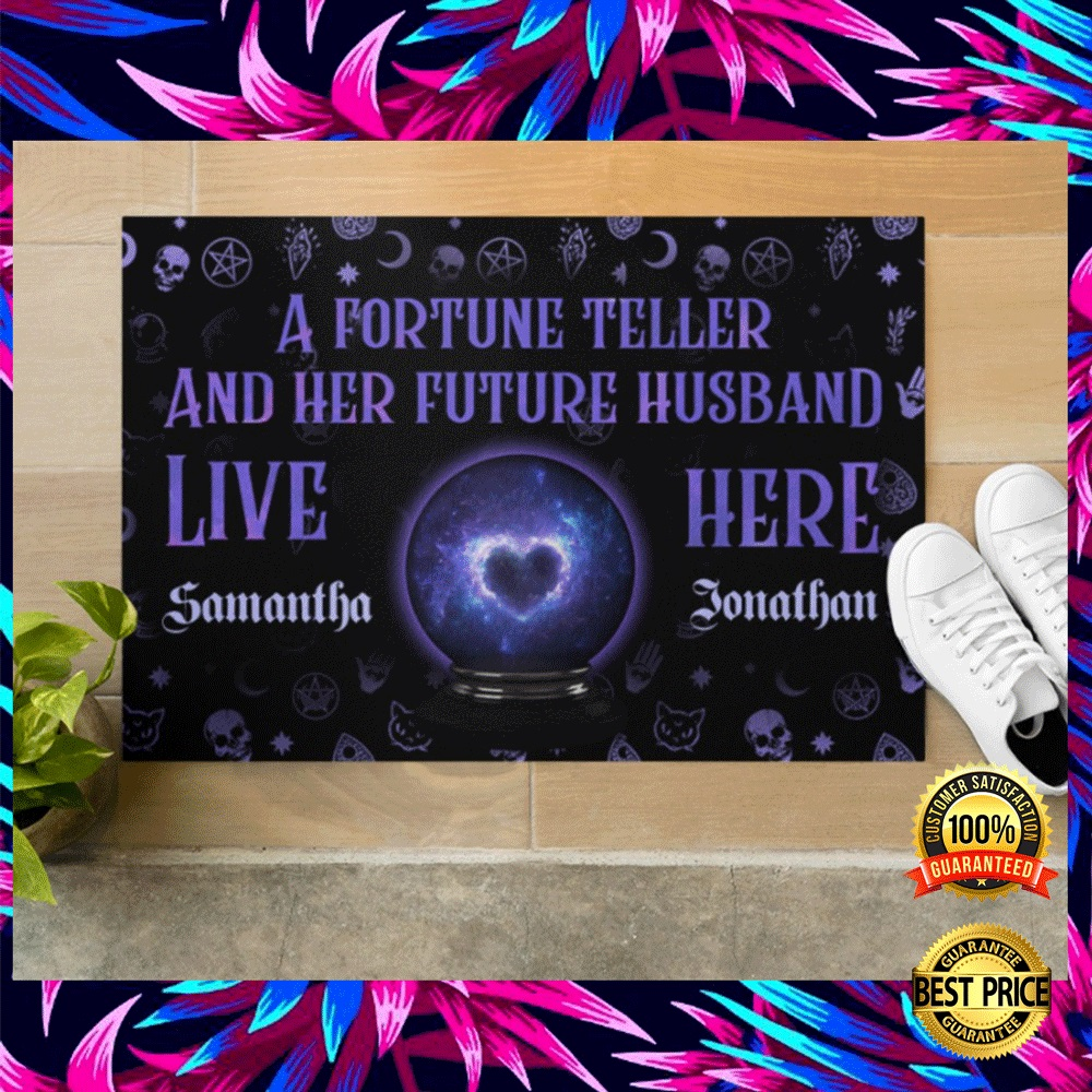PERSONALIZED A FORTUNE TELLER AND HER FUTURE HUSBAND LIVE HERE DOORMAT 5