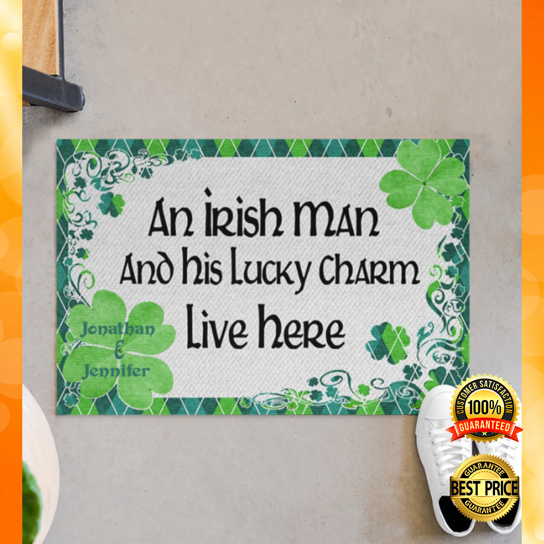 PERSONALIZED AN IRISH MAN AND HIS LUCKY CHARM LIVE HERE DOORMAT 6