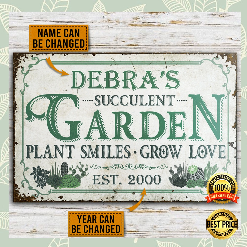 PERSONALIZED SUCCULENT GARDEN PLANT SMILES GROW LOVE POSTER 6