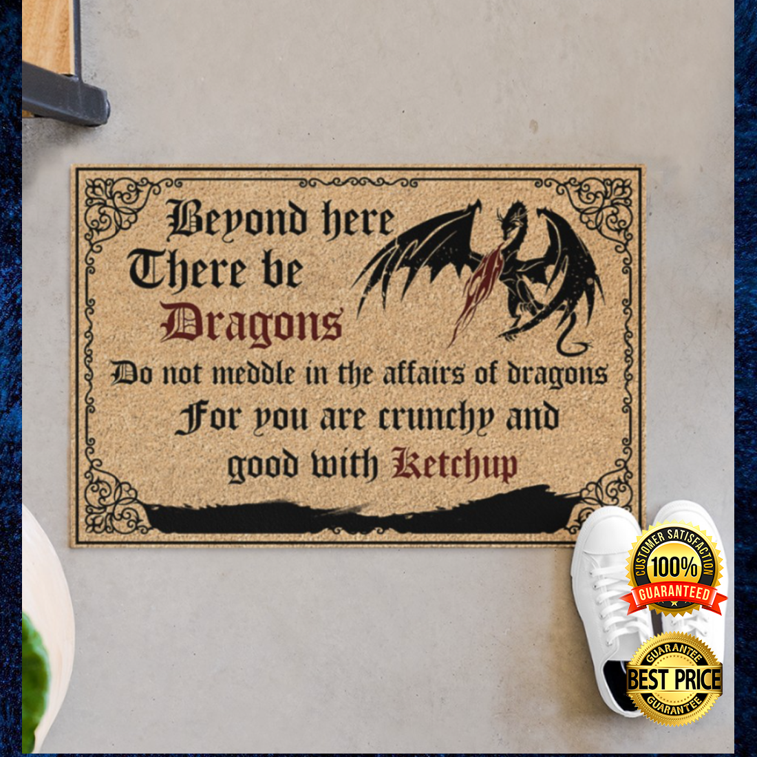 BEYOND HERE THERE BE DRAGONS DOORMAT 5