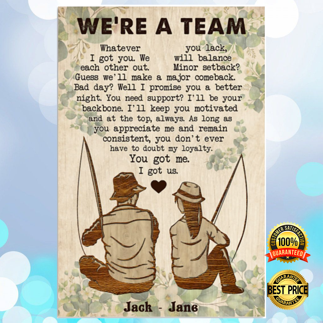 PERSONALIZED FISHING COUPLE WE'RE A TEAM POSTER 5