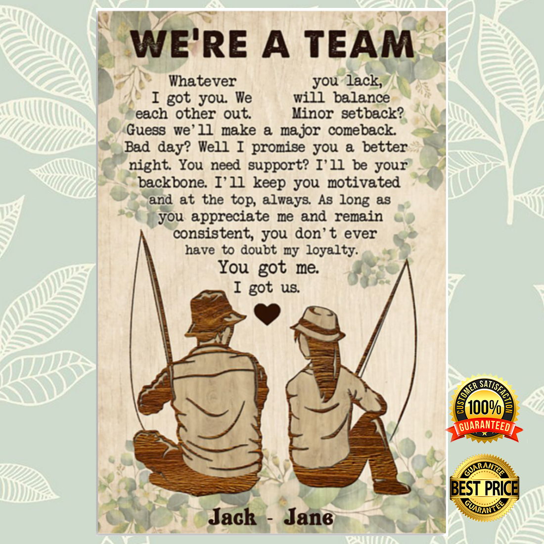 PERSONALIZED FISHING COUPLE WE'RE A TEAM POSTER 6