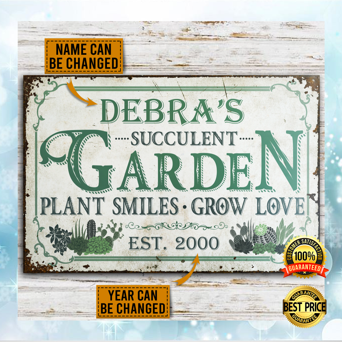 PERSONALIZED SUCCULENT GARDEN PLANT SMILES GROW LOVE POSTER 4