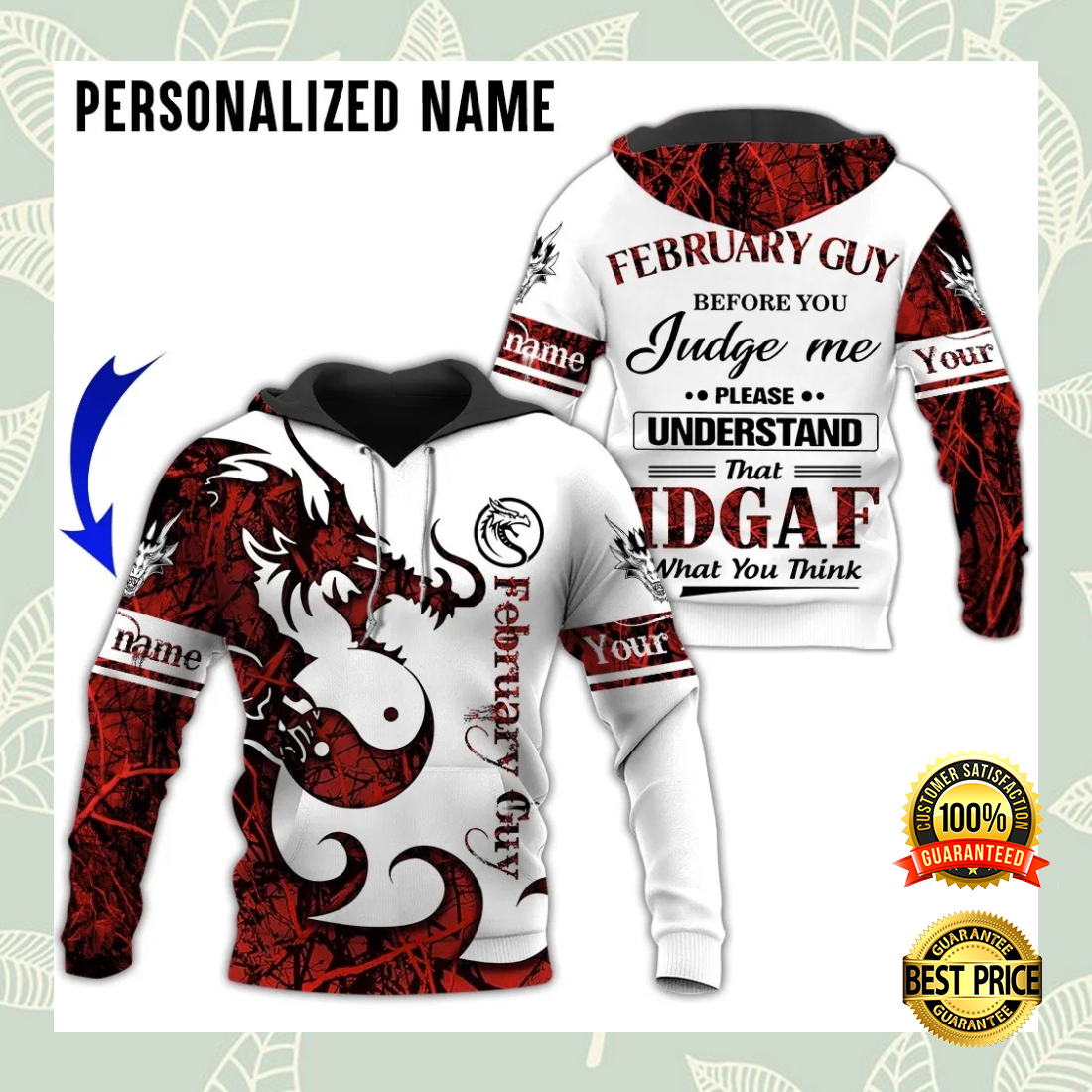 PERSONALIZED DRAGON FEBRUARY GUY ALL OVER PRINTED 3D HOODIE 6