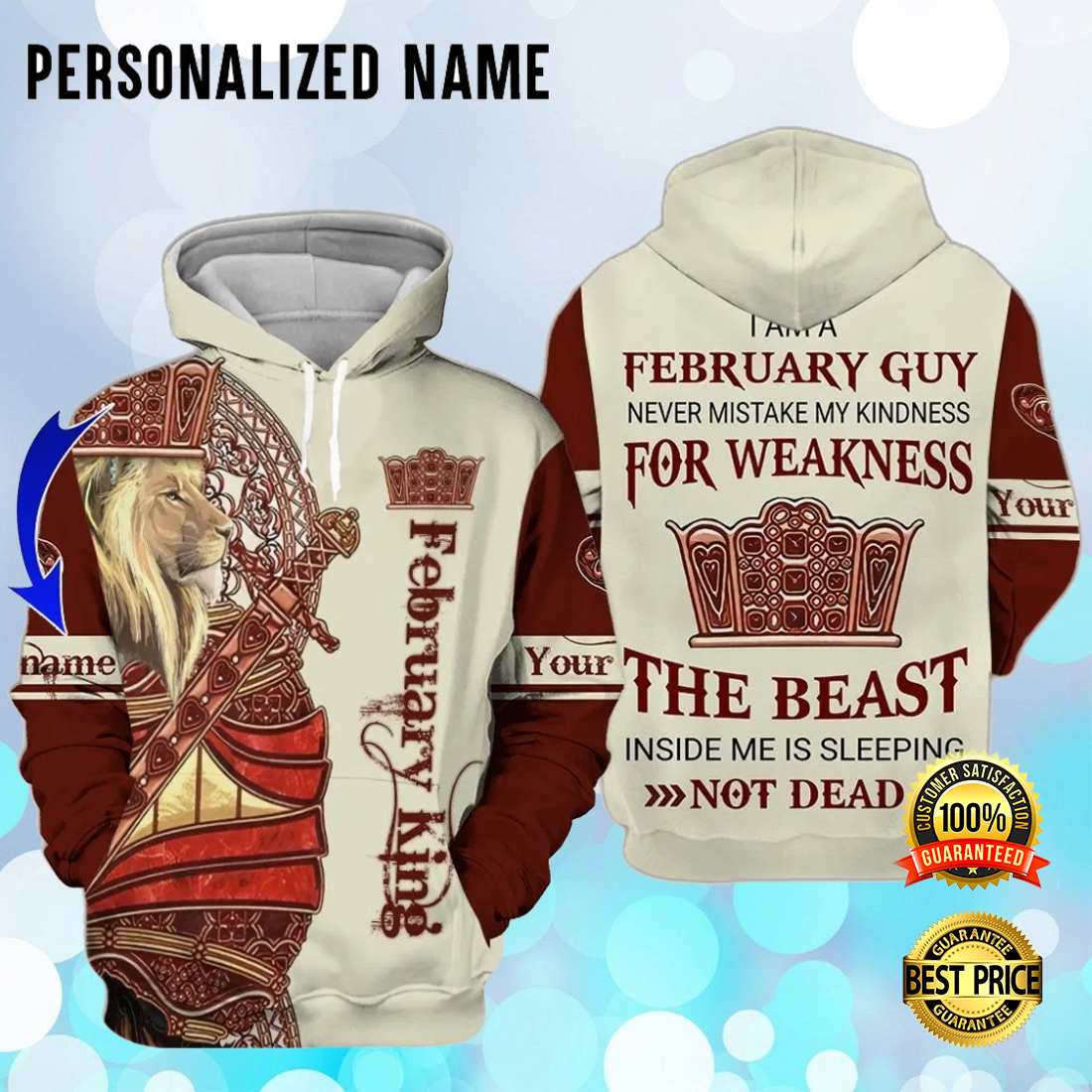 [Cheapest] Personalized lion february king all over printed 3D hoodie