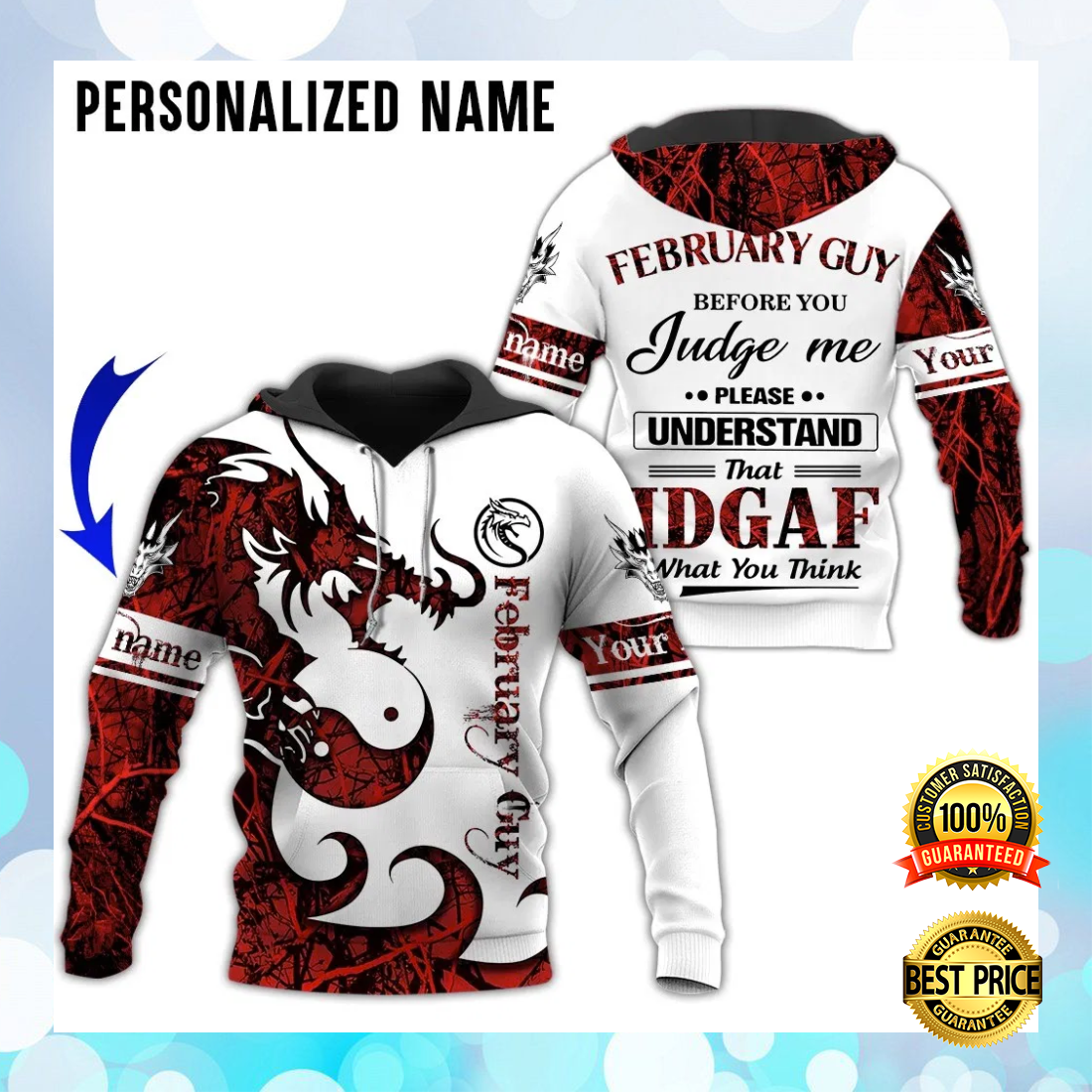 PERSONALIZED DRAGON FEBRUARY GUY ALL OVER PRINTED 3D HOODIE 5